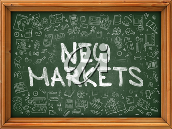 New Markets Concept. Modern Line Style Illustration. New Markets Handwritten on Green Chalkboard with Doodle Icons Around. Doodle Design Style of New Markets Concept.