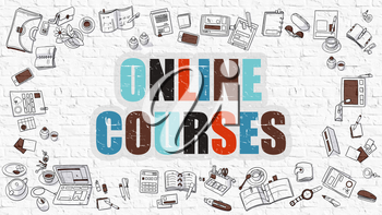 Online Courses Concept. Modern Line Style Illustration. Multicolor Online Courses Drawn on White Brick Wall. Doodle Icons. Doodle Design Style of Online Courses Concept.