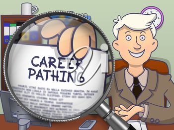 Career Pathing. Concept on Paper in Business Man's Hand through Lens. Colored Modern Line Illustration in Doodle Style.