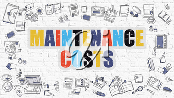 Multicolor Concept - Maintenance Costs - on White Brick Wall with Doodle Icons Around. Modern Illustration with Doodle Design Style.