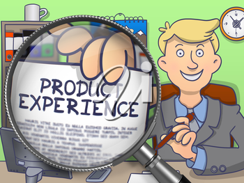 Product Experience on Paper in Officeman's Hand to Illustrate a Business Concept. Closeup View through Lens. Colored Doodle Style Illustration.