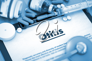 Diagnosis - Otitis on Background of Medicaments Composition - Pills, Injections and Syringe. Otitis Diagnosis, Medical Concept. Composition of Medicaments. Toned Image. 3D Render.