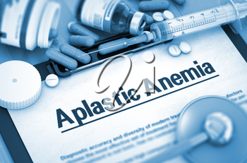 Aplastic Anemia, Medical Concept with Pills, Injections and Syringe. Aplastic Anemia - Printed Diagnosis with Blurred Text. Toned Image. 3D Render.