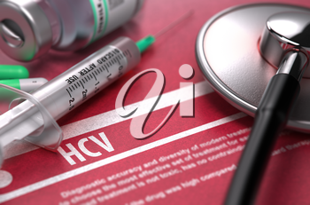HCV - - Hepatitis C Virus - Medical Concept with Blurred Text, Stethoscope, Pills and Syringe on Red Background. Selective Focus. 3D Render.