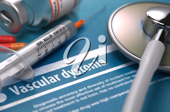 Diagnosis - Vascular dystonia. Medical Concept with Blurred Text, Stethoscope, Pills and Syringe on Blue Background. Selective Focus. 3D Render.