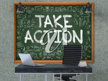 Green Chalkboard with the Text Take Action Hangs on the Gray Concrete Wall in the Interior of a Modern Office. Illustration with Doodle Style Elements. 3D.