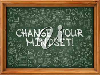Green Chalkboard with Hand Drawn Change Your Mindset with Doodle Icons Around. Line Style Illustration.