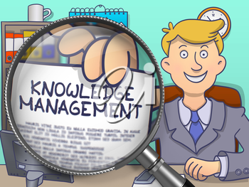 Businessman Sitting in Office and Holds Out a Paper with Knowledge Management concept. Closeup View through Magnifier. Colored Modern Line Illustration in Doodle Style.