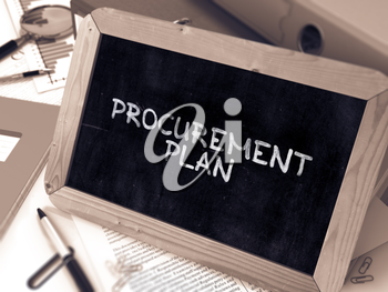 Handwritten Procurement Plan on a Chalkboard. Composition with Chalkboard and Ring Binders, Office Supplies, Reports on Blurred Background. Toned Image. 3D Render.