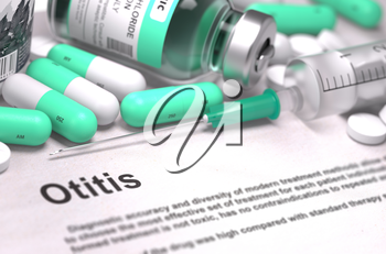 Diagnosis - Otitis. Medical Concept with LIght Green Pills, Injections and Syringe. Selective Focus. Blured Background. 3D Render.