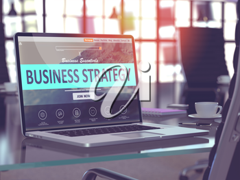 Business Strategy Concept. Closeup Landing Page on Laptop Screen  on background of Comfortable Working Place in Modern Office. Blurred, Toned Image. 3D Render.