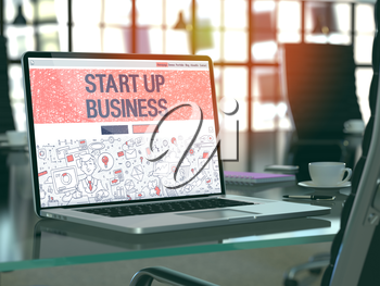 Start Up Business Concept. Closeup Landing Page on Laptop Screen in Doodle Design Style. On Background of Comfortable Working Place in Modern Office. Blurred, Toned Image. 3D Render.