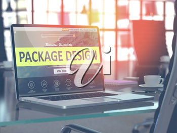 Modern Workplace with Laptop showing Landing Page with Package Design Concept. Toned Image with Selective Focus. 3D Render.