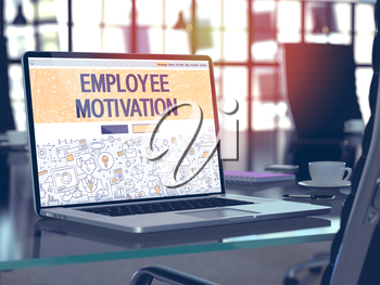 Employee Motivation Concept. Closeup Landing Page on Laptop Screen in Doodle Design Style. On Background of Comfortable Working Place in Modern Office. Blurred, Toned Image. 3D Render.