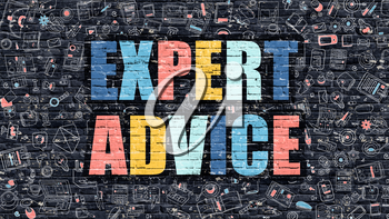 Expert Advice. Multicolor Inscription on Dark Brick Wall with Doodle Icons. Expert Advice Concept in Modern Style. Doodle Design Icons. Expert Advice on Dark Brickwall Background.