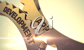 Golden Metallic Gears with App Development Concept. App Development on the Golden Cog Gears. App Development - Industrial Illustration with Glow Effect and Lens Flare. 3D.