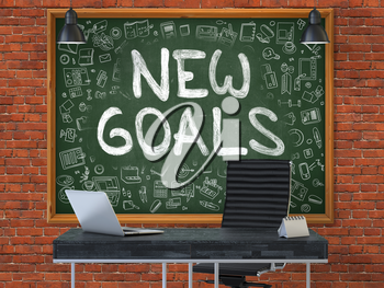 Hand Drawn New Goals on Green Chalkboard. Modern Office Interior. Red Brick Wall Background. Business Concept with Doodle Style Elements. 3D.