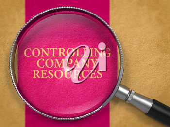 Controlling Company Resources Concept through Magnifier on Old Paper with Lilac Vertical Line Background. 3D Render.
