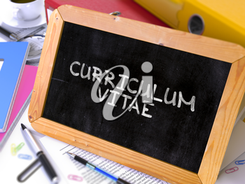 Curriculum Vitae - Chalkboard with Hand Drawn Text, Stack of Office Folders, Stationery, Reports on Blurred Background. Toned Image. 3D Render.
