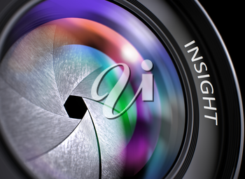 Insight Concept. Insight - Concept on Digital Camera Lens  with Colored Lens Reflection, Closeup. Insight - Concept on Digital Camera Lens , Closeup. 3D Render.