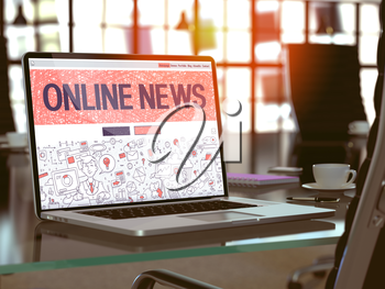 Online News Concept. Closeup Landing Page on Laptop Screen in Doodle Design Style. On Background of Comfortable Working Place in Modern Office. Blurred, Toned Image. 3D Render.