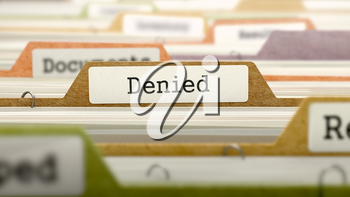 Denied on Business Folder in Multicolor Card Index. Closeup View. Blurred Image. 3D Render.