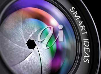 Closeup Photo Lens with Colored Reflection and Inscription Smart Ideas. Smart Ideas Written on a Lens of Reflex Camera. Closeup View, Selective Focus, Lens Flare Effect. 3D.