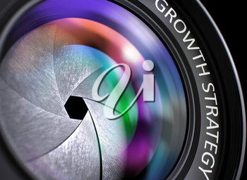 Growth Strategy Written on a Black Digital Camera Lens. Closeup View, Selective Focus, Lens Flare Effect. Digital Camera Lens  with Growth Strategy Concept. 3D Illustration.
