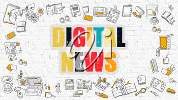 Digital News - Multicolor Concept with Doodle Icons Around on White Brick Wall Background. Modern Illustration with Elements of Doodle Design Style.