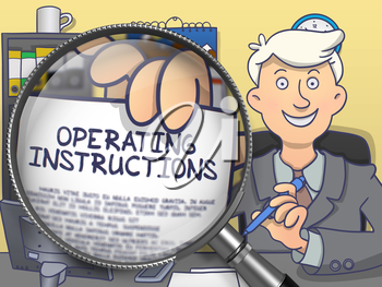 Businessman in Office Showing Paper with Operating Instructions. Closeup View through Magnifying Glass. Multicolor Doodle Style Illustration.