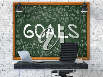 Hand Drawn Goals on Green Chalkboard. Modern Office Interior. White Brick Wall Background. Business Concept with Doodle Style Elements. 3D.