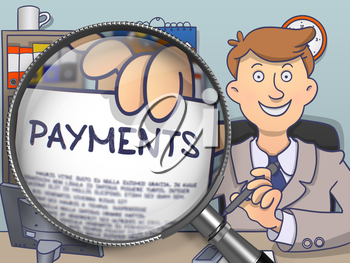Payments through Magnifying Glass. Man Welcomes in Office and Holds Out Paper with Concept. Colored Doodle Style Illustration.