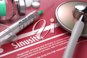 Sinusitis - Medical Concept on Red Background with Blurred Text and Composition of Pills, Syringe and Stethoscope. 3D Render.