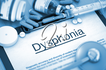 Dysphonia - Printed Diagnosis with Blurred Text. Dysphonia, Medical Concept with Pills, Injections and Syringe. 3D.
