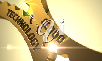 Cloud Technology Golden Metallic Cog Gears. Cloud Technology - Technical Design. Cloud Technology on Mechanism of Golden Cogwheels with Lens Flare. 3D.