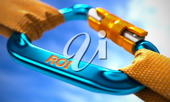 Strong Connection between Blue Carabiner and Two Orange Ropes Symbolizing the ROI - Return on Investment. Selective Focus. 3D Render.