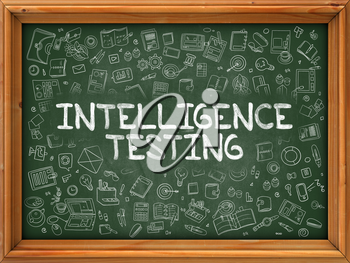 Hand Drawn Intelligence Testing on Green Chalkboard. Hand Drawn Doodle Icons Around Chalkboard. Modern Illustration with Line Style.