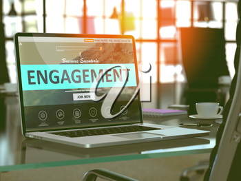Engagement Concept - Closeup on Laptop Screen in Modern Office Workplace. Toned Image with Selective Focus. 3D Render.