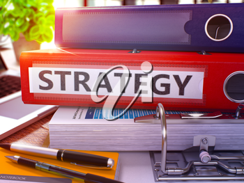 Strategy - Red Ring Binder on Office Desktop with Office Supplies and Modern Laptop. Strategy Business Concept on Blurred Background. Strategy - Toned Illustration. 3D Render.