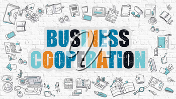 Business Cooperation. Multicolor Inscription on White Brick Wall with Doodle Icons Around. Modern Style Illustration with Doodle Design Icons. Business Cooperation on White Brickwall Background.