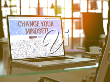 Change Your Mindset - Closeup Landing Page in Doodle Design Style on Laptop Screen. On Background of Comfortable Working Place in Modern Office. Toned, Blurred Image. 3D Render.