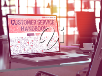 Customer Service Handbook Concept Closeup on Landing Page of Laptop Screen in Modern Office Workplace. Toned Image with Selective Focus. 3D Render.