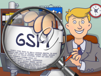 Business Man in Suit Holding a Paper with GSM Concept. Closeup View through Magnifying Glass. Multicolor Doodle Style Illustration.