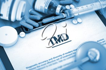 TMD - Printed Diagnosis with Blurred Text. TMD Diagnosis, Medical Concept. Composition of Medicaments. Diagnosis - TMD On Background of Medicaments Composition - Pills, Injections and Syringe. 3D.