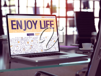 Enjoy Life Concept Closeup on Landing Page of Laptop Screen in Modern Office Workplace. Toned Image with Selective Focus. 3D Render.
