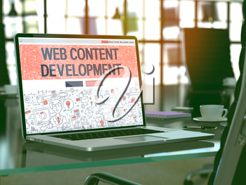 Web Content Development Concept - Closeup on Landing Page of Laptop Screen in Modern Office Workplace. Toned Image with Selective Focus. 3D Render.