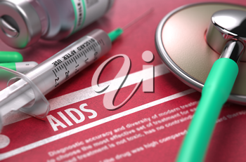 AIDS - Acquired Immune Deficiency Syndrome - Printed Diagnosis on Red Background with Blurred Text and Composition of Pills, Syringe and Stethoscope. Medical Concept. Selective Focus. 3D Render.