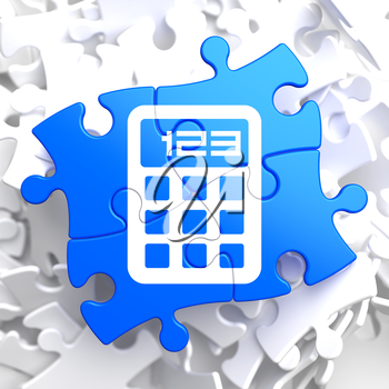 Icon of Calculator on Blue Puzzle.