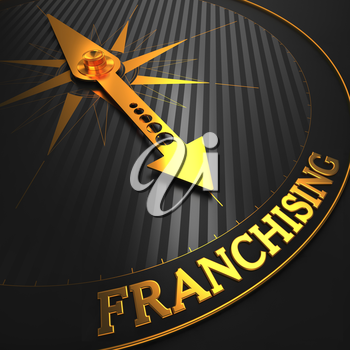 Franchising - Business Background. Golden Compass Needle on a Black Field Pointing to the Word Franchising. 3D Render.