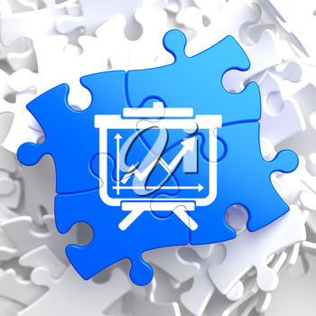 Flipchart with Growth Chart Icon on Blue Puzzle. Business Concept.